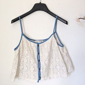 DOUBLE ZERO Crop Festival Lace Denim Tank Top